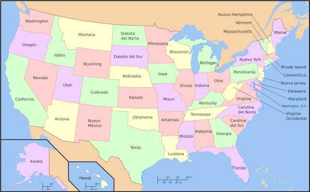 Mapa de Estados de EEUU
