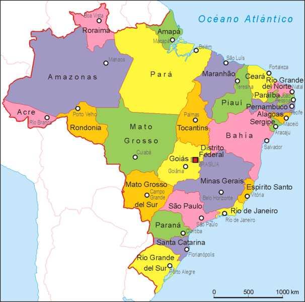 Mapa de ciudades de Brasil