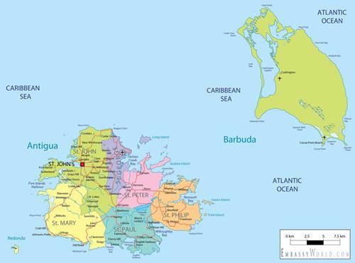 mapa antigua y barbuda