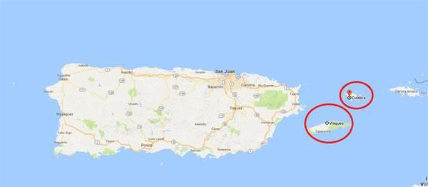 Mapa de Vieques y Culebra