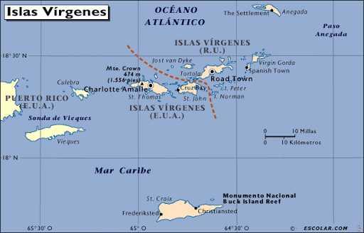 Mapa de las Islas Vírgenes