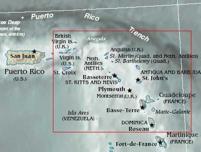 Mapa de las Islas de Sotavento británicas