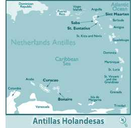 Mapa de las Antillas Holandesas